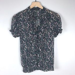 Floral Forever 21 Sheer Blouse Size Small